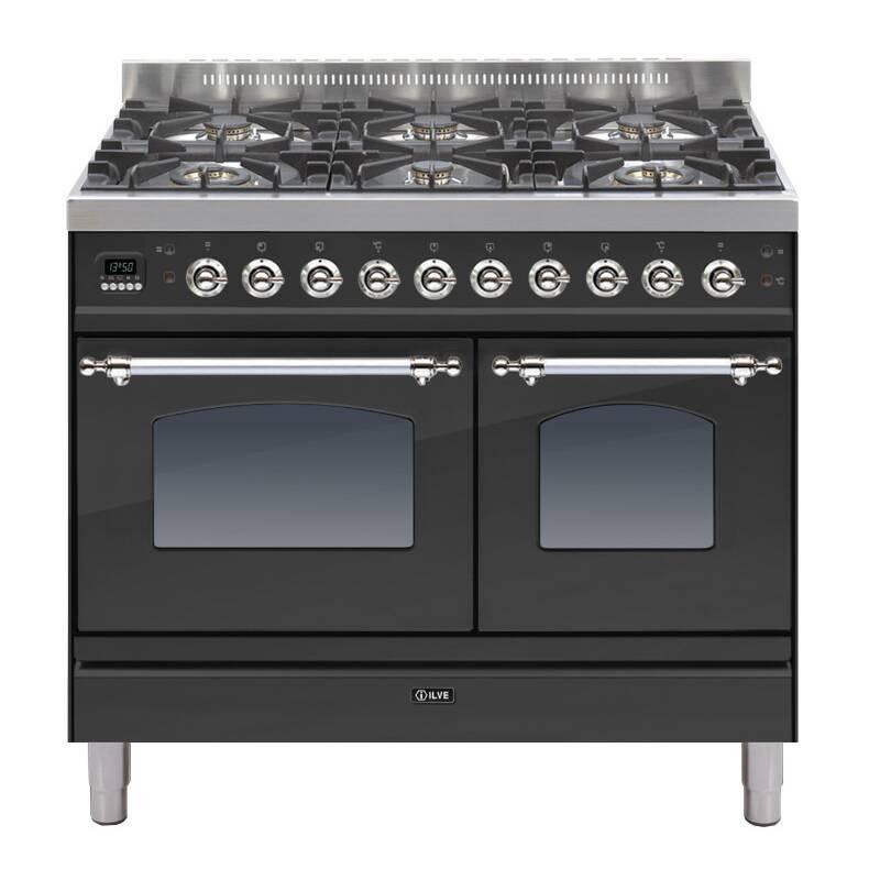 ILVE Milano 100cm Twin Range Cooker 6 Burner Matt Black Chrome - PDN1006E3/MX primary image