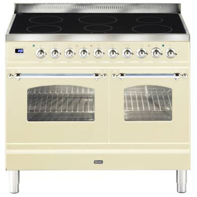 ILVE Milano 100cm Twin Range Cooker 6 Zone Induction Cream Chrome - PDNI100E3/AX