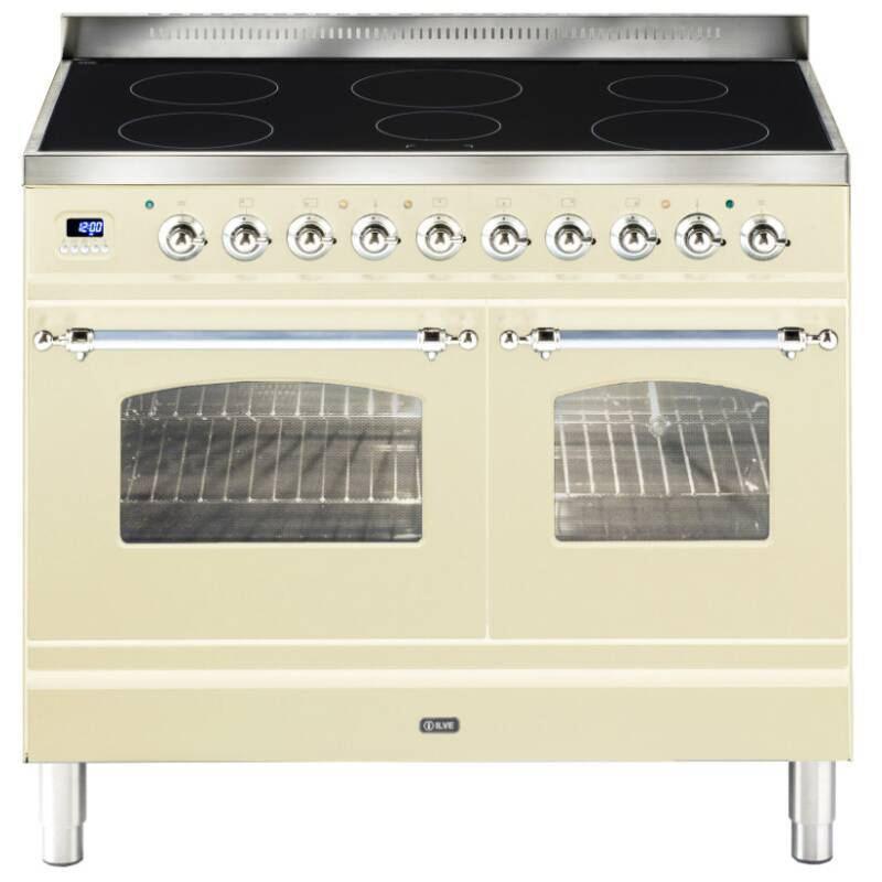 ILVE Milano 100cm Twin Range Cooker 6 Zone Induction Cream Chrome - PDNI100E3/AX primary image