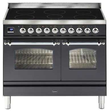 ILVE Milano 100cm Twin Range Cooker 6 Zone Induction Matt Black Chrome