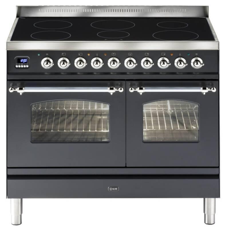 ILVE Milano 100cm Twin Range Cooker 6 Zone Induction Matt Black Chrome primary image