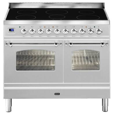 ILVE Milano 100cm Twin Range Cooker 6 Zone Induction Stainless Steel Chrome