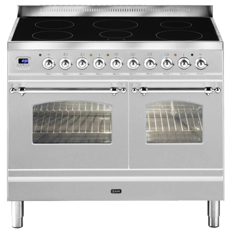 ILVE Milano 100cm Twin Range Cooker 6 Zone Induction Stainless Steel Chrome primary image