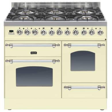 ILVE Milano 100cm XG Range Cooker 6 Burner Cream Chrome - PTN1006E3/AX