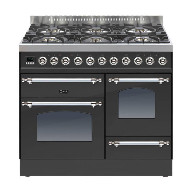 ILVE Milano 100cm XG Range Cooker 6 Burner Matt Black Chrome primary image
