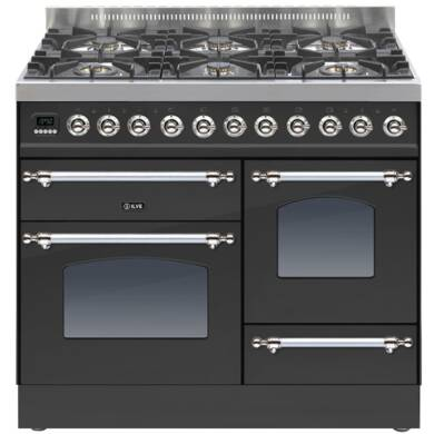ILVE Milano 100cm XG Range Cooker 6 Burner Matt Black Chrome - PTN1006E3/MX