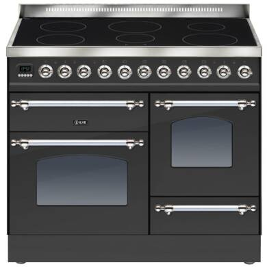 ILVE Milano 100cm XG Range Cooker 6 Zone Induction Matt Black Chrome - PTNI100E3/MX