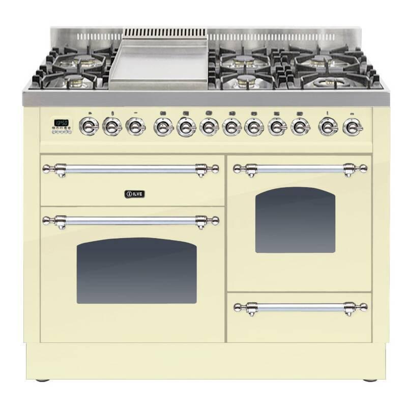 ILVE Milano 110cm XG Range Cooker 6 Burner Fry Top Cream Chrome - PTN110FE3/AX primary image