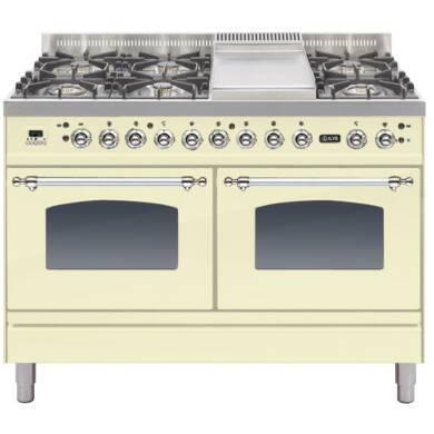 ILVE Milano 120cm Range Cooker 6 Burner Fry Top Cream Chrome - PDN120FE3/AX