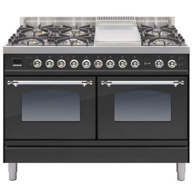 ILVE Milano 120cm Range Cooker 6 Burner Fry Top Matt Black Chrome - PDN120FE3/MX