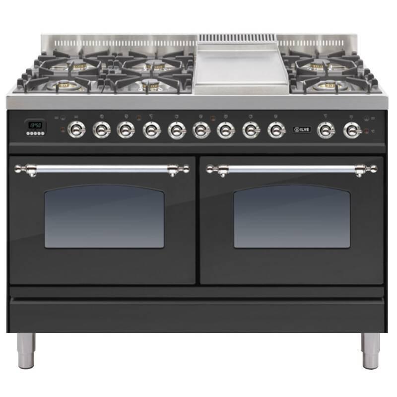 ILVE Milano 120cm Range Cooker 6 Burner Fry Top Matt Black Chrome - PDN120FE3/MX primary image