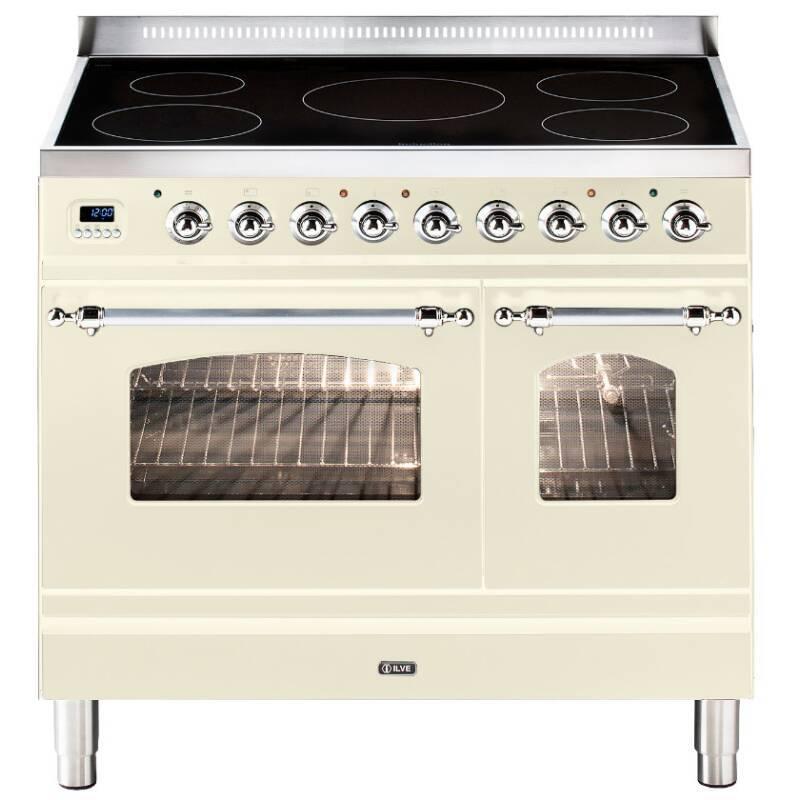 ILVE Milano 90cm Twin Range Cooker 5 Zone Induction Cream Chrome primary image
