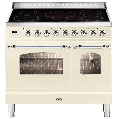ILVE Milano 90cm Twin Range Cooker 5 Zone Induction Cream Chrome - PDNI90E3/AX
