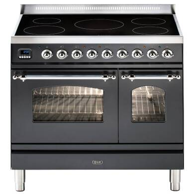 ILVE Milano 90cm Twin Range Cooker 5 Zone Induction Matt Black Chrome