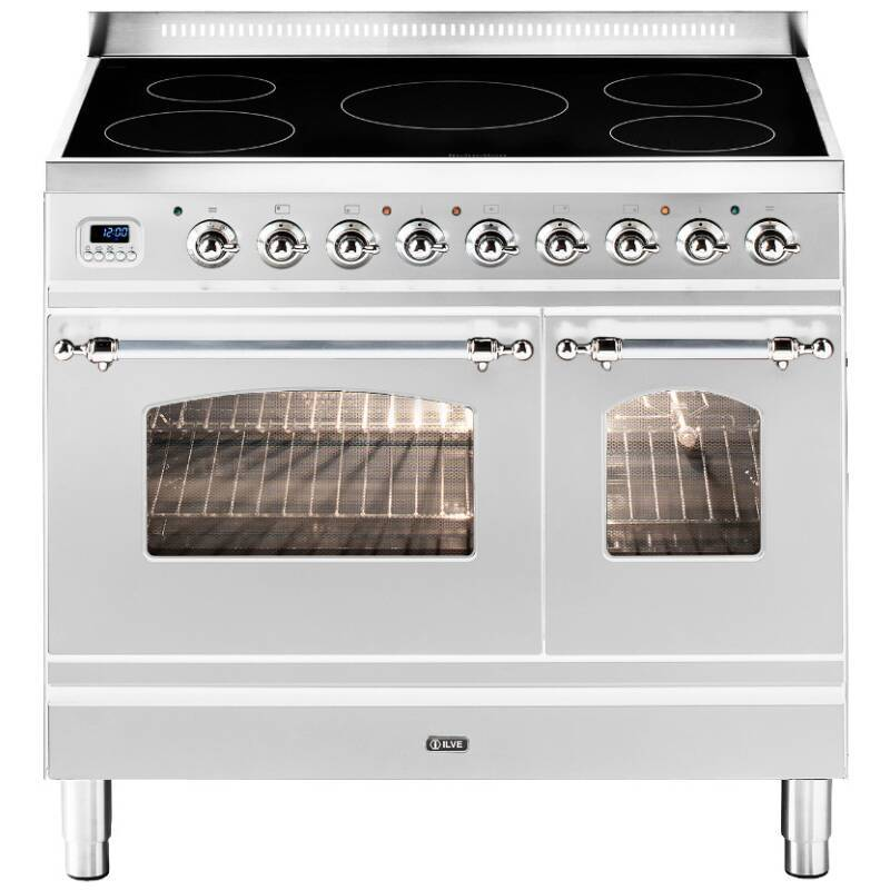 ILVE Milano 90cm Twin Range Cooker 5 Zone Induction Stainless Steel Chrome - PDNI90E3/IX primary image