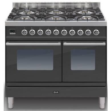 Ilve Roma 100cm Range Cooker Twin 6 Burner Black Matt - PDW1006E3/M