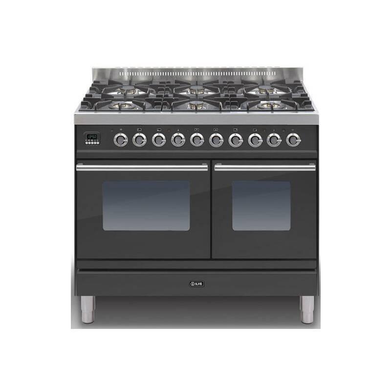 Ilve Roma 100cm Range Cooker Twin 6 Burner Black Matt - PDW1006E3/M primary image