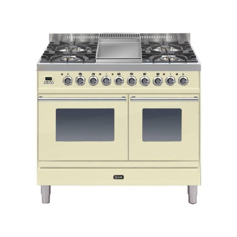 ILVE Roma 100cm Twin Range Cooker 4 Burner Fry Top Cream primary image