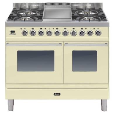ILVE Roma 100cm Twin Range Cooker 4 Burner Fry Top Cream - PDW100FE3/A