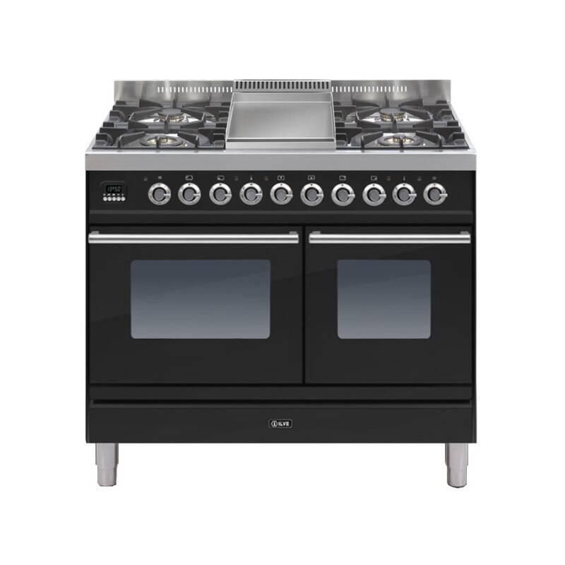 ILVE Roma 100cm Twin Range Cooker 4 Burner Fry Top Gloss Black primary image