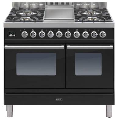 ILVE Roma 100cm Twin Range Cooker 4 Burner Fry Top Gloss Black - PDW100FE3/N