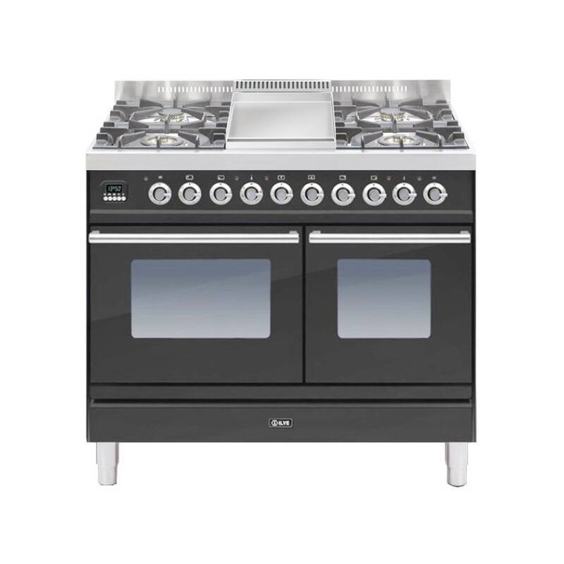 ILVE Roma 100cm Twin Range Cooker 4 Burner Fry Top Matt Black primary image