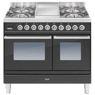 ILVE Roma 100cm Twin Range Cooker 4 Burner Fry Top Matt Black - PDW100FE3/M