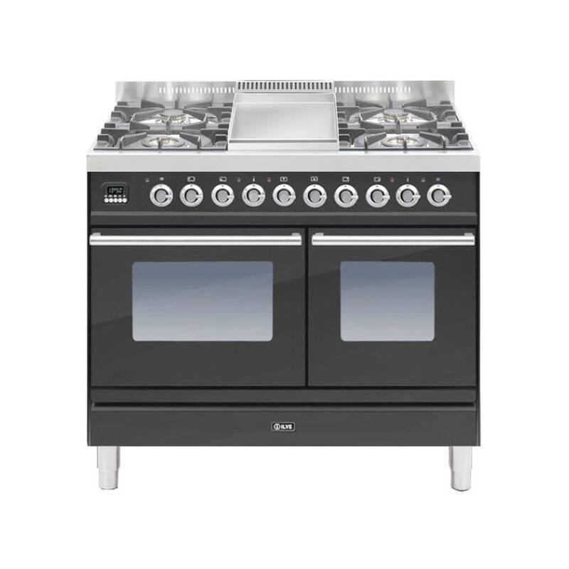 ILVE Roma 100cm Twin Range Cooker 4 Burner Fry Top Matt Black - PDW100FE3/M primary image