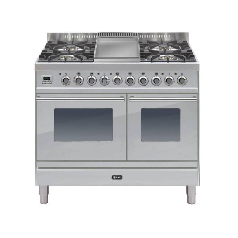 ILVE Roma 100cm Twin Range Cooker 4 Burner Fry Top Stainless Steel primary image