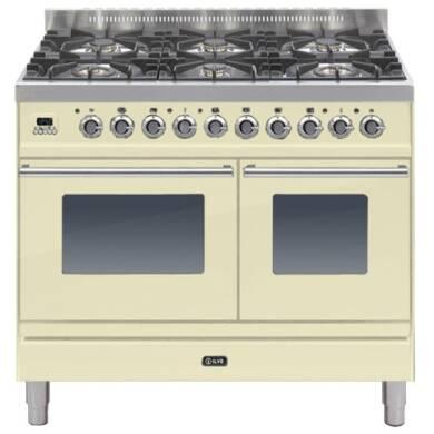ILVE Roma 100cm Twin Range Cooker 6 Burner Cream - PDW1006E3/A