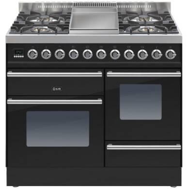 ILVE Roma 100cm XG Range Cooker  4 Burner Fry Top Gloss Black - PTW100FE3/N