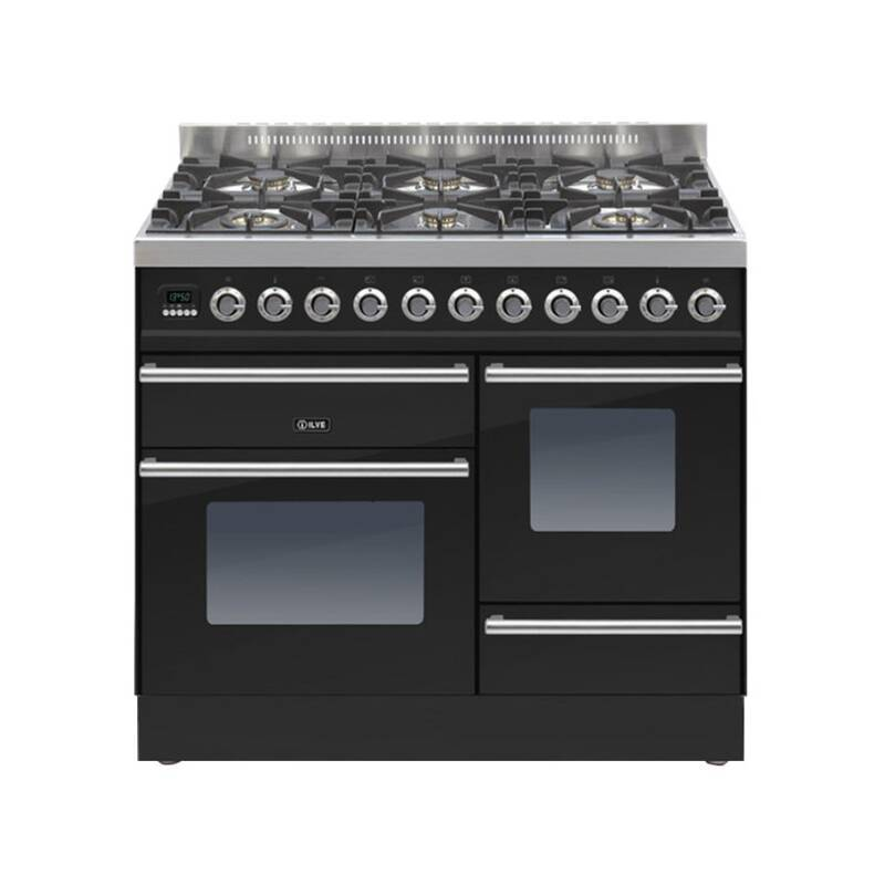 ILVE Roma 100cm XG Range Cooker 6 Burner Gloss Black - PTW1006E3/N primary image
