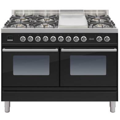 ILVE Roma 120cm Range Cooker  6 Burner Fry Top Gloss Black - PDW120FE3/N