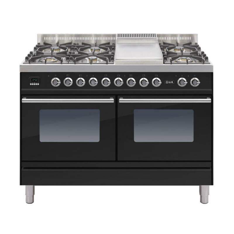 ILVE Roma 120cm Range Cooker  6 Burner Fry Top Gloss Black - PDW120FE3/N primary image