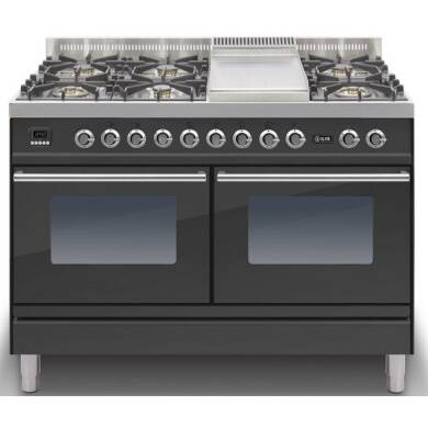 ILVE Roma 120cm Range Cooker  6 Burner Fry Top Matt Black - PDW120FE3/M