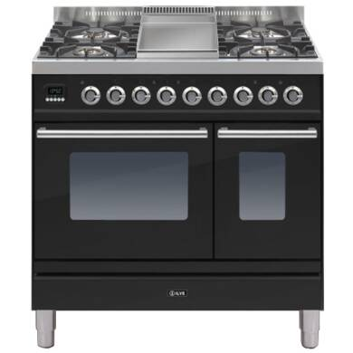 ILVE Roma 90cm Twin Range Cooker 4 Burner Fry Top Gloss Black - PDW90FE3/N