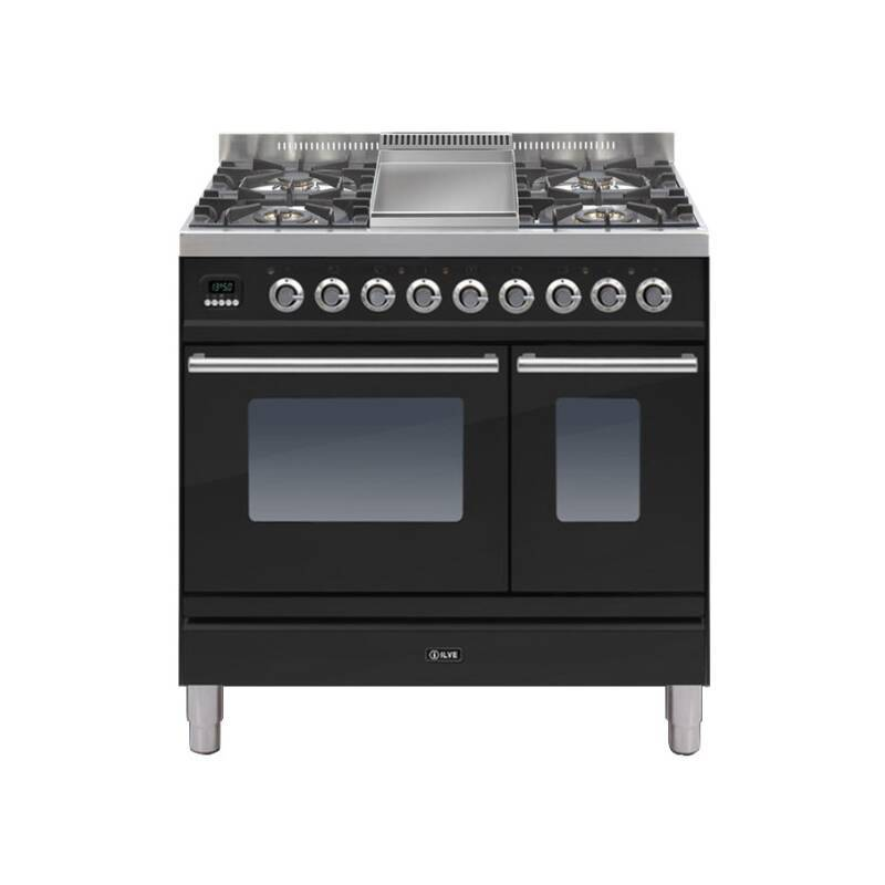 ILVE Roma 90cm Twin Range Cooker 4 Burner Fry Top Gloss Black - PDW90FE3/N primary image