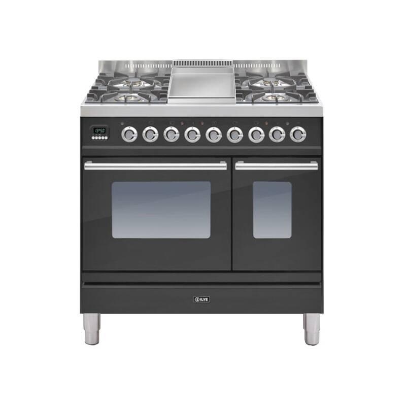 ILVE Roma 90cm Twin Range Cooker 4 Burner Fry Top Matt Black primary image