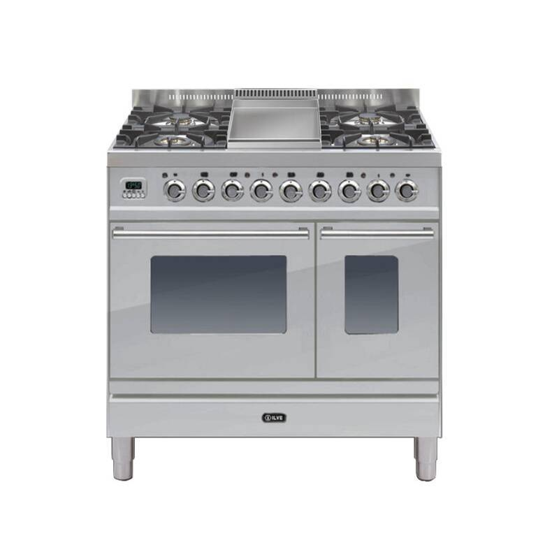 ILVE Roma 90cm Twin Range Cooker 4 Burner Fry Top Stainless Steel primary image