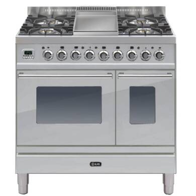 ILVE Roma 90cm Twin Range Cooker 4 Burner Fry Top Stainless Steel - PDW90FE3/I