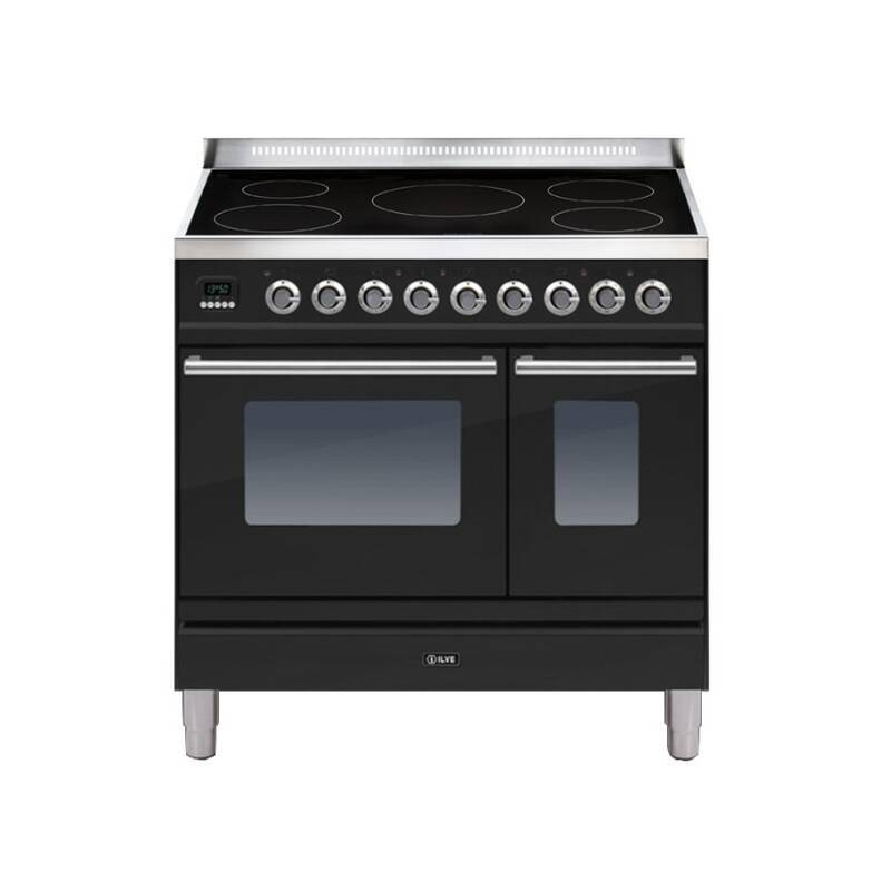 ILVE Roma 90cm Twin Range Cooker 5 Zone Induction Gloss Black - PDWI90E3/N primary image