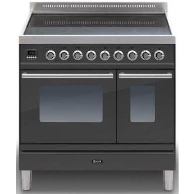ILVE Roma 90cm Twin Range Cooker 5 Zone Induction Matt Black - PDWI90E3/M