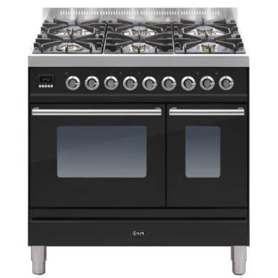 ILVE Roma 90cm Twin Range Cooker 6 Burner Gloss Black - PDW906E3/N