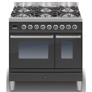 ILVE Roma 90cm Twin Range Cooker 6 Burner Matt Black - PDW906E3/M