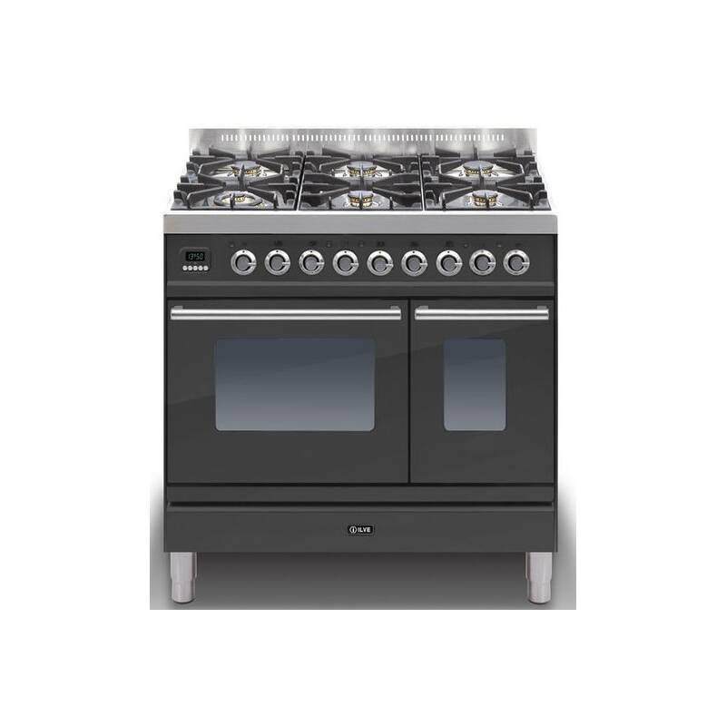 ILVE Roma 90cm Twin Range Cooker 6 Burner Matt Black - PDW906E3/M primary image