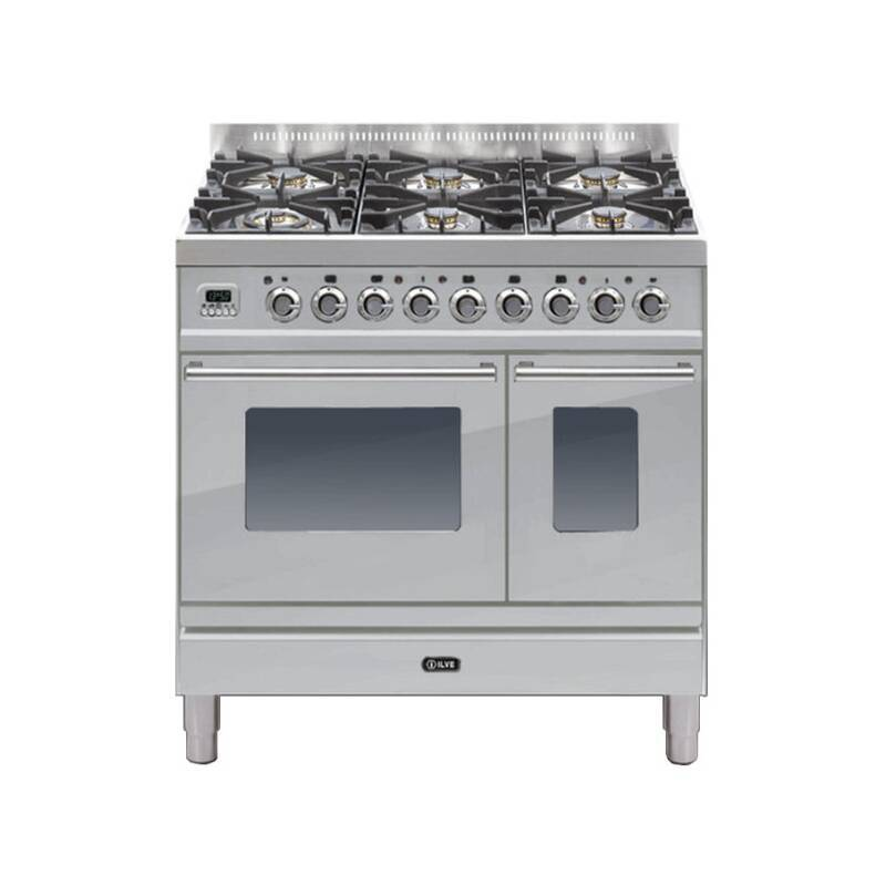 ILVE Roma 90cm Twin Range Cooker 6 Burner Stainless Steel - PDW906E3/I primary image