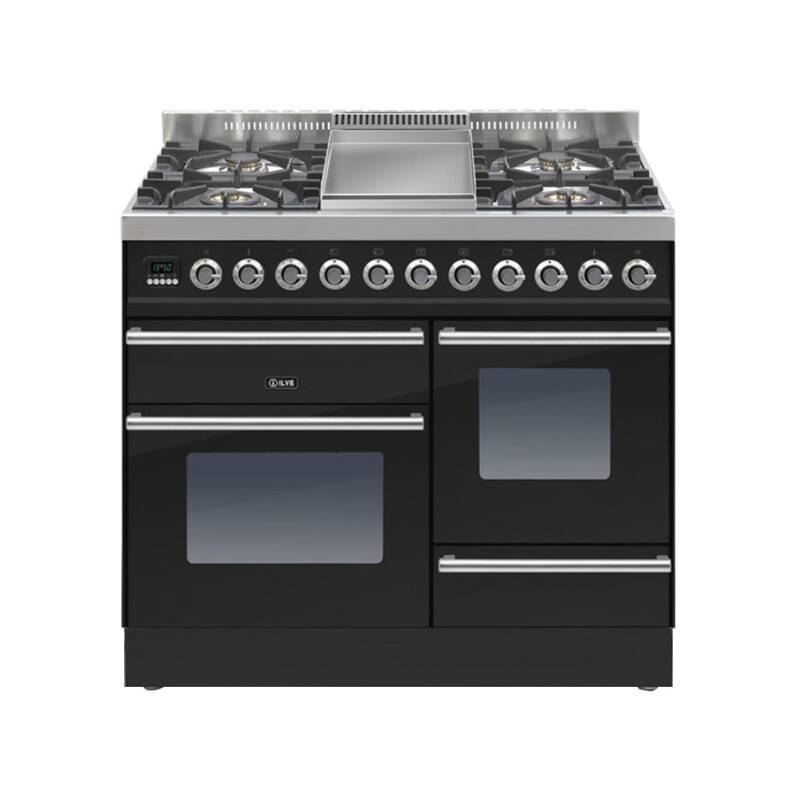 ILVE Roma Dual Fuel 100 4 Burner Fry Top Black Gl primary image