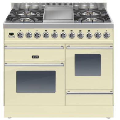 ILVE Roma Dual Fuel 100 4 Burner Fry Top Cream