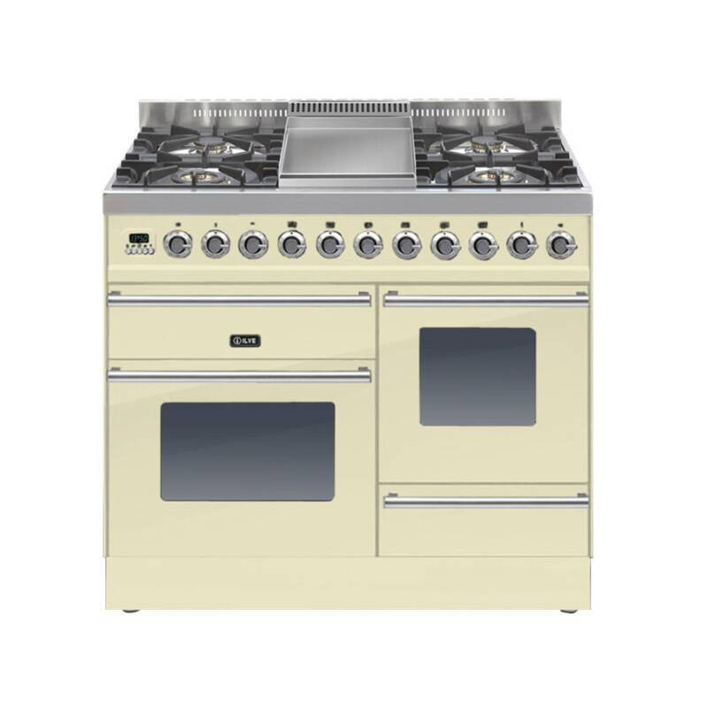 ILVE Roma Dual Fuel 100 4 Burner Fry Top Cream primary image