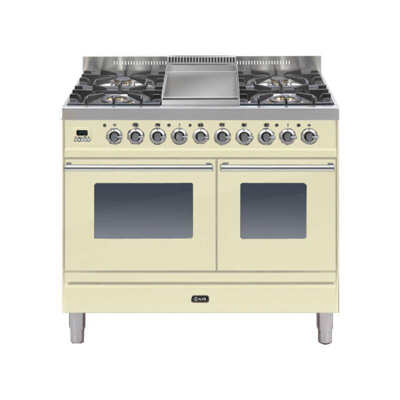 ILVE Roma Dual Fuel 100 Twin 4 Burner Fry Top Cream primary image